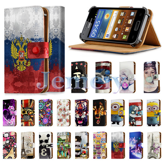 """Universal Cases For Samsung GALAXY S Advance I9070 4inch, Printed PU Leather Skin Card Wallet Cover Flip Stand Case For I9070 4""""(China (Mainland))"""