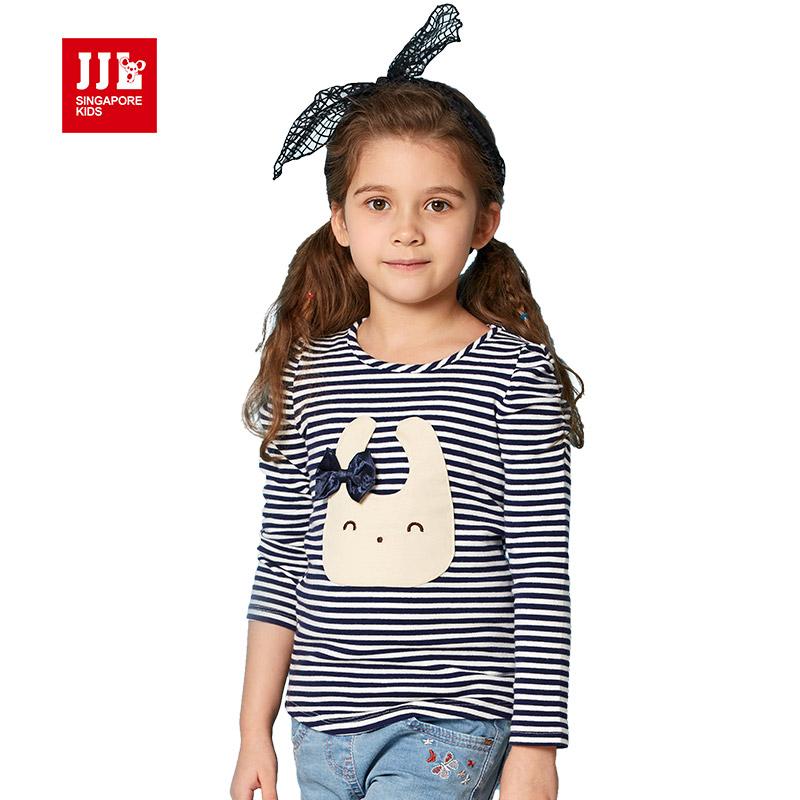 baby girls clothing cartoon girls print long sleeve t shirt children's clothing striped tee shirt 2016 brand kids tops 4-11y(China (Mainland))