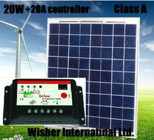 1 set of 20W polycrystalline solar panel + 20A 12v/24v solar controller, 100% Class A, for 12V battery charging,Free shipping(China (Mainland))