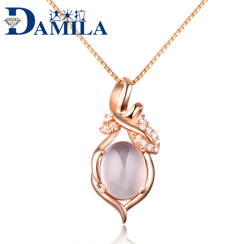 925 Sterling Silver pink crystal pendant jewelry, natural stone pendant pink ross quartz grape shape pendant for women birthday(China (Mainland))