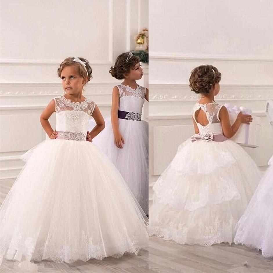 Lace Flower Girl Dresses For Wedding White First Communion Dresses