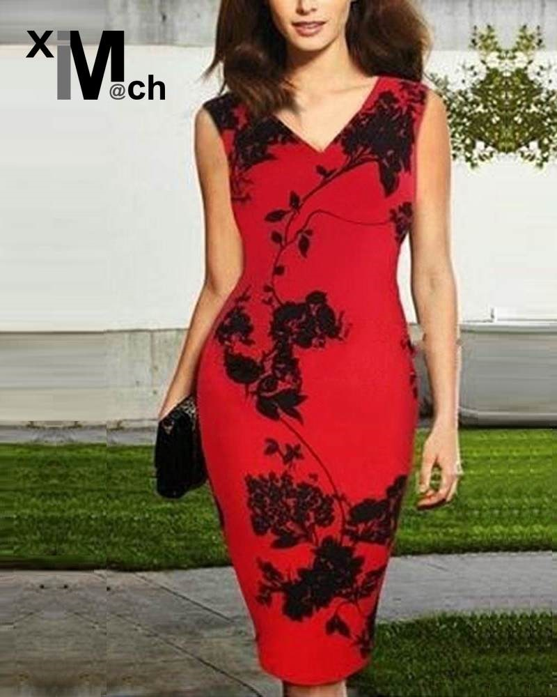 Fashion Sexy Red Dress Sleeveless V-neck Package Hip Printed Pencil Dress DR06544CT(China (Mainland))