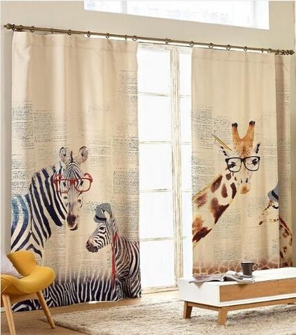 2016 Hot Sale Semi-blackout Cartoon Curtain for Children Living Room Bedroom Giraffe Zebra Animal Printed Window Curtain Panels(China (Mainland))