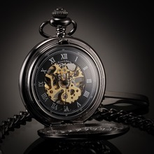 KS Retro Black Skeleton Curved Alloy Case Hand Wind Mechanical Necklace Clock Steampunk Style Analog Men