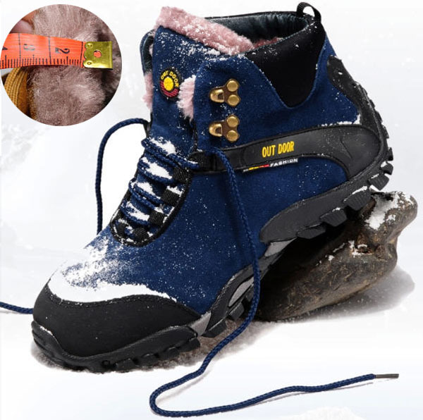 Winter Hot Sale Men Velvet Outdoors Cotton-Padded Boots Plus Size Plush Sport Snow Boots Climbing Skiing Cycling Warm Shoes E958(China (Mainland))