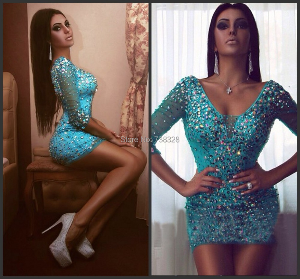 Luxury 2015 New Arrival Cocktail Dresses Sheer Blue Half Sleeve Sheath Vestido De Festa Party Prom Dress Gowns(China (Mainland))