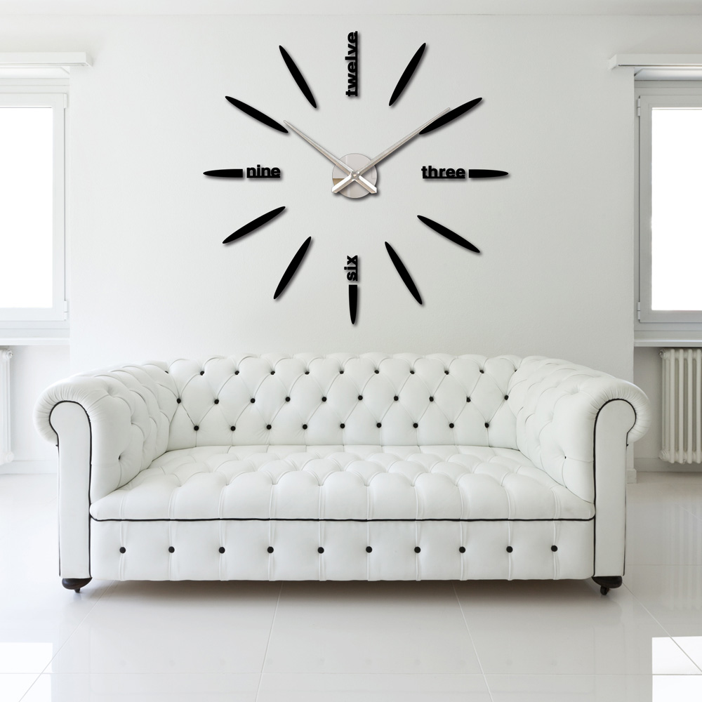 Diy large watch wall clock decor modern design stickers mirror effect acrylic - Horloge murale decorative ...