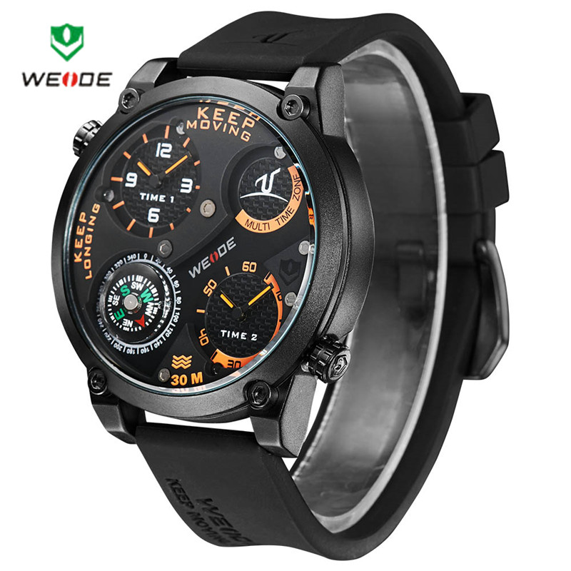 2016 WEIDE Men Universe Series Military Watch Compass Dual Time Zones Black Silicone Strap 1505(China (Mainland))