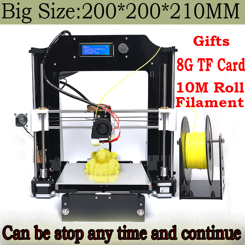 Big Print Size 200*200*210mm High Quality Precision Reprap Prusa i3 DIY 3d Printer kit 10M Filament 8GB SD card and LCD Control<br>