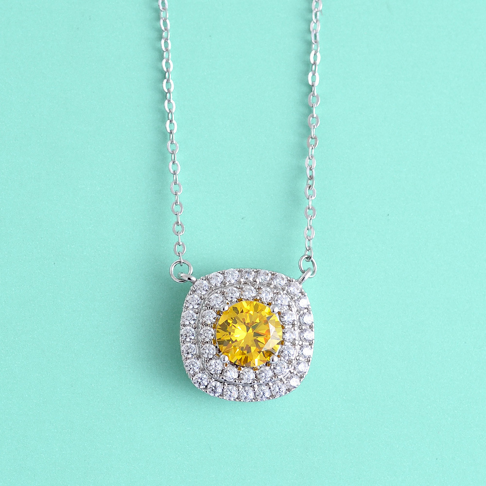 Luxury Topaz Citrine November Birthstone Square Pendant Disc Pave Charm Necklace Birthday Stone GTLX363(China (Mainland))