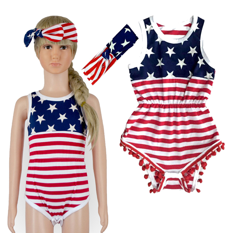 Retail 4th of July American Baby Striped Rompers Set Star Pattern Romper+Headband Girl 2pcs Set Girls Clothes Sets recem nascido(China (Mainland))