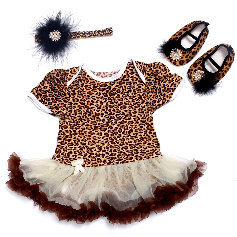 Baby Leopard Girls Party Dresses Diamond Headband Baby Shoes Set,Toddler Ballerina Slipper,vestidos infantis meninas #7A5348(China (Mainland))
