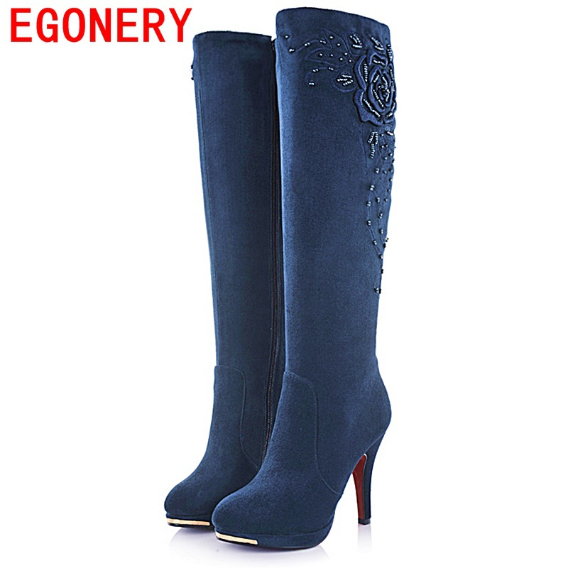 Free shipping 2013 new fashion sexy high heel knee boots flock womens autumn winter long motorcycle boots for women lady pumps<br><br>Aliexpress