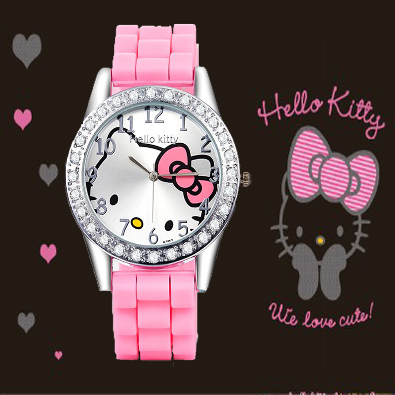 HelloKitty Women Dress Watch Hello Kitty Children Cartoon Watches Silicone Watch Women Rhinestone Dress Kids Watches reloj mujer(China (Mainland))