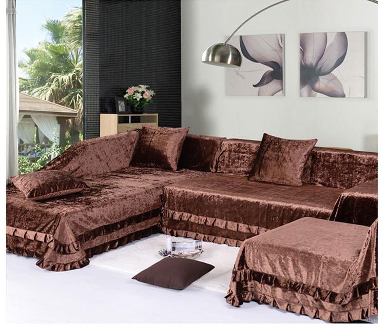 2014 Sectional Slipcovers High Grade Gold Velvet Sofa