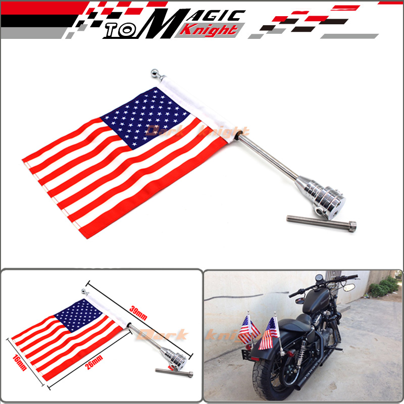 For Harley Davidson XL883 XL1200 Chrome Motorcycle Flag Pole and American Flag(China (Mainland))