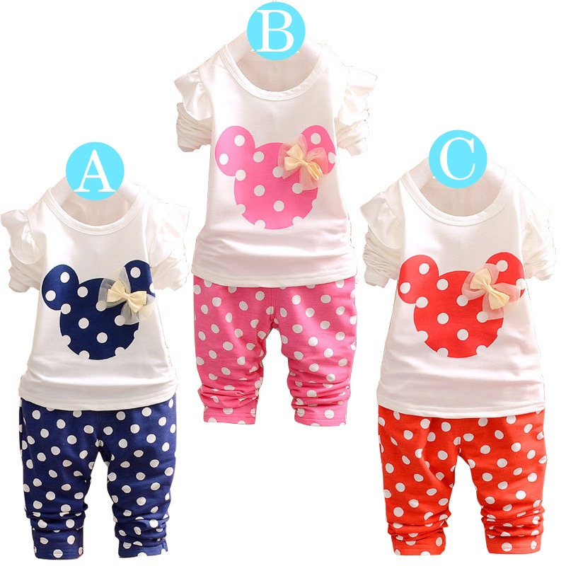 2015 new summer clothing set short sleeve minnie t-shirt+ dot pants hot sale new style (3 color) kids clothes(China (Mainland))