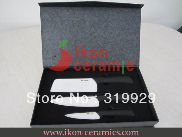 Free Shipping wholesale selling High Quality Zirconia New 100% 3-pieces Ikon Ceramic Kitchen Knife sets(AJ-HCW-3-CB)
