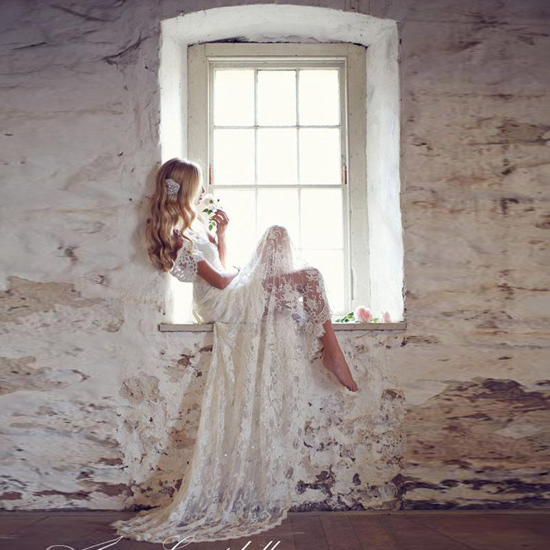 2016 Lace Wedding Dress Romantic Beach Bridal Gown Boho Off the ...