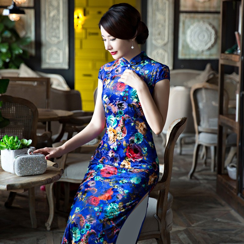 สีฟ้าของผู้หญิงCheongsamแฟชั่นสไตล์จีนชุดหรูหราบางเฉียบยาวพิมพ์QipaoขนาดSml XL XXL XXXL F090904 ถูก