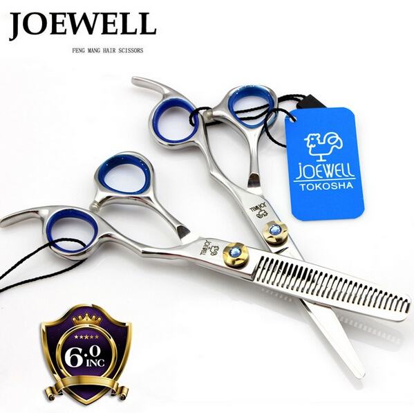4/6/7 Japan Kasho Joewell professional hair scissors set 440c 6.0 inch 5.5 hairdressing barber hair cutting thinning scissors(China (Mainland))