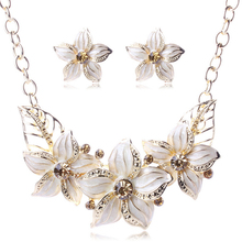 Gold Plated Austrian Crystal Enamel Flower Jewelry Sets Women African Costume Sapphire Jewelry Maxi Necklace Earring Set PWS0001