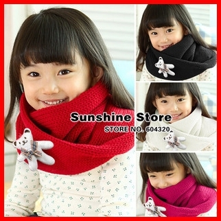 Mint Bear baby scarf animal Cowl scarf for children girls Neck Gaiter,kids bufandas neck warmer #2D2513  10 pcs/lot (4 colors)
