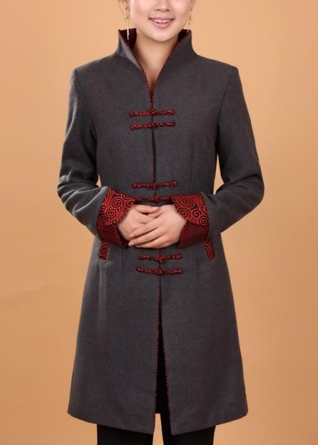 Бесплатная доставка серый зима длинном пальто китайских женщин кашемировые пальто размер L XL XXL XXXL 4XL 2987 - 1