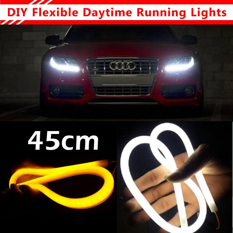 45cm White+Yellow Flexible Headlight With Turn Signal 9W Daytime Lamp Switchback Strip Angel Eye DRL Decorative Light(China (Mainland))
