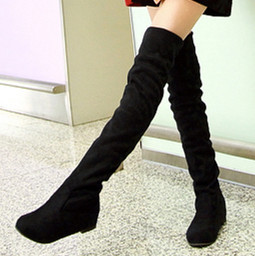 ENMAYER Sexy Women Boots Autumn Winter Ladies Fashion Flat Bottom Boots Shoes Over The Knee Thigh High Flock Long Boots Designer(China (Mainland))
