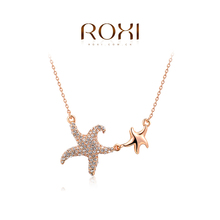 ROXI Christmas Gift  Fashion Jewelry Rose Gold Plated Statement Double Starfish Necklace For Women Party Wedding Free Shipping