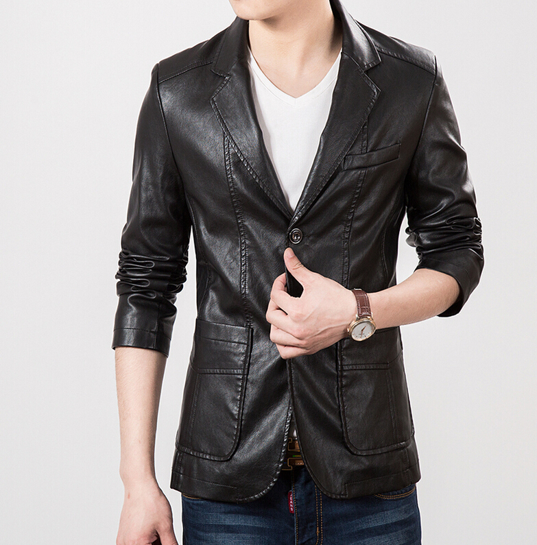 Newly listed 2015 hot selling brand high-grade leather men's suit collar men black leather jacket and brown(China (Mainland))