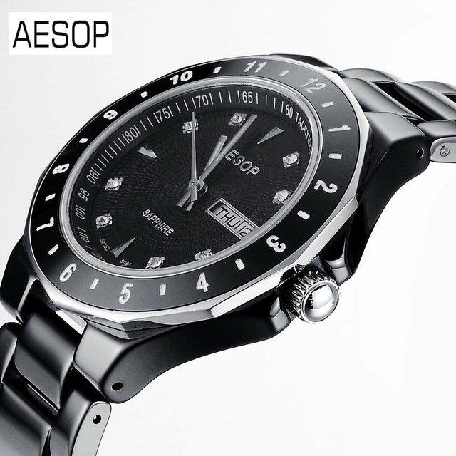 AESOP Digital Analog Dual Time Date Day Ceramic Bracelet Outdoor Quartz Wrap Wrist Military Men's Sport Watch Women Watches 9909