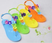 Fashion New Arrival Gladiator Style Sandals T- Strape candy Color Beach Jelly Shoes Flower Flat flip flop Sandals Discount(China (Mainland))