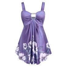 Летняя женская гавайская рубашка большого размера, женская модная Повседневная рубашка с цветочным принтом, с вырезами, с завышенной талие...(China)