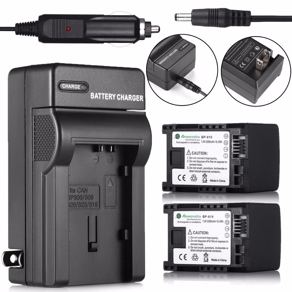 2x BP-819 Rechargeable Battery + Battery Charger for Canon Camera BP-807 BP-809 BP-827 VIXIA HG20 HF200 HF100 Accessories(China (Mainland))