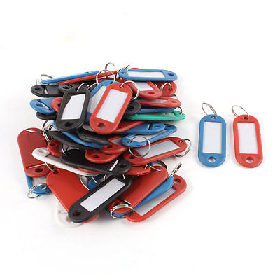 Portable Black Blue Plastic Holder ID Key Labels Tags Keyrings Keychains 50PCS<br><br>Aliexpress