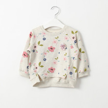Spring children's clothing female child fresh small flower o-neck sweatshirt child knitted long-sleeve top clothing