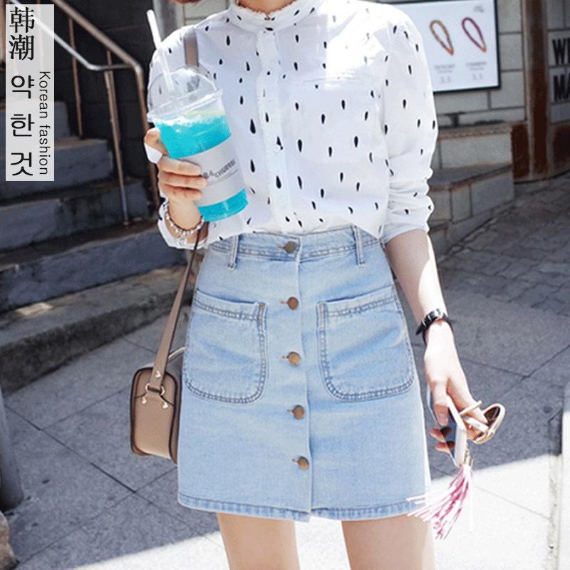 Summer 2016 Women Denim Skirt Jeans Short High Waist Pocket Mini Vintage Jupe Sexy Fashion Buckle Cowboy Skirt solid A-Line(China (Mainland))