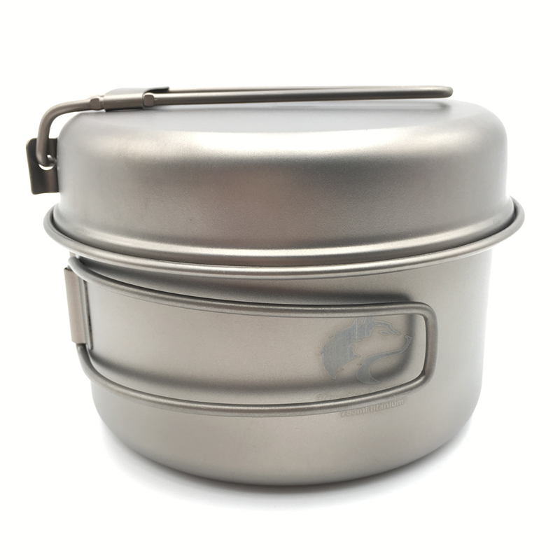 Boundless Voyage 785ml Titanium Pot set Outdoor Cookware Camping Pot with Titanium Pan 152g Ti1515B(China (Mainland))