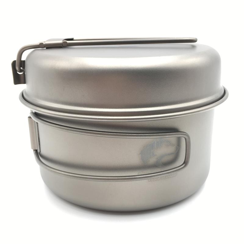 Boundless Voyage 785ml Titanium Pot set Outdoor Cookware Camping Pot with Titanium Pan 152g Ti1515B(China (Mainland))