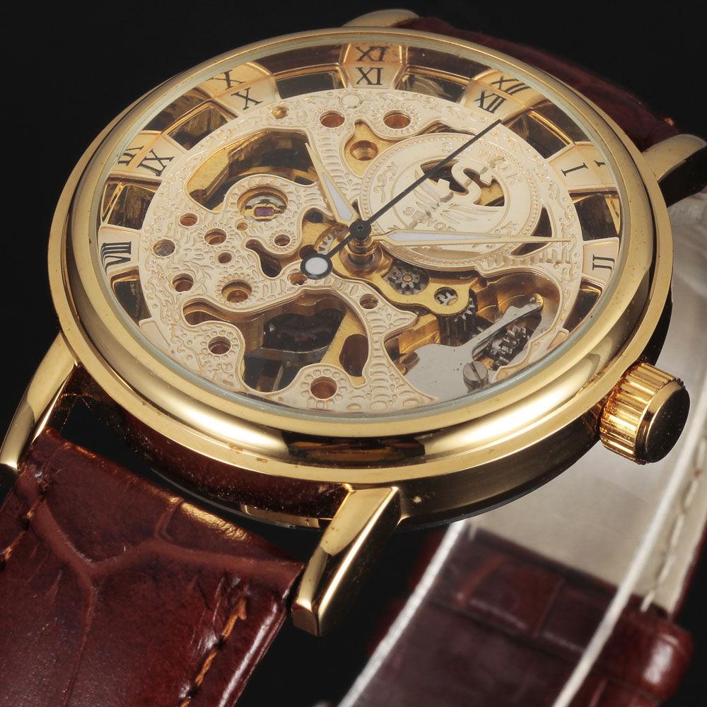 new SEWOR BRAND skeleton fashion hand wind mechanical man gift clock luxury male business leather wrist military sport watch(China (Mainland))