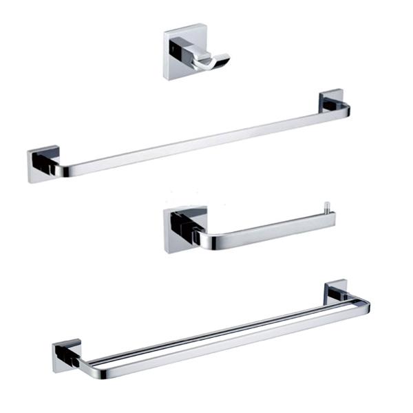 Free shipping Bathroom hardware set Solid Brass Chrome ,Robe hook,Paper Holder Towel Bar 4 pcs bathroom ccessories CB000F-2(China (Mainland))