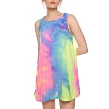 S-6XL Women Summer Dress 2016 Sleeveless Colorful Rainbow O-neck Casual Mini Nightclub T-shirt Dress Sundress Plus Size Vestidos