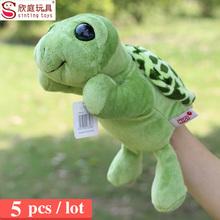 wholesale plush turtle hand puppets for kids animal cartoon large hand puppet set pokemon finger puppet 5pc /lot(China (Mainland))