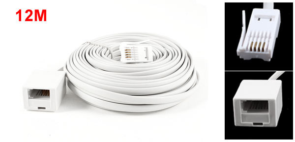 12M 39ft UK BT 6P4C Male to Female Telephone Extension Cable Connector White(China (Mainland))