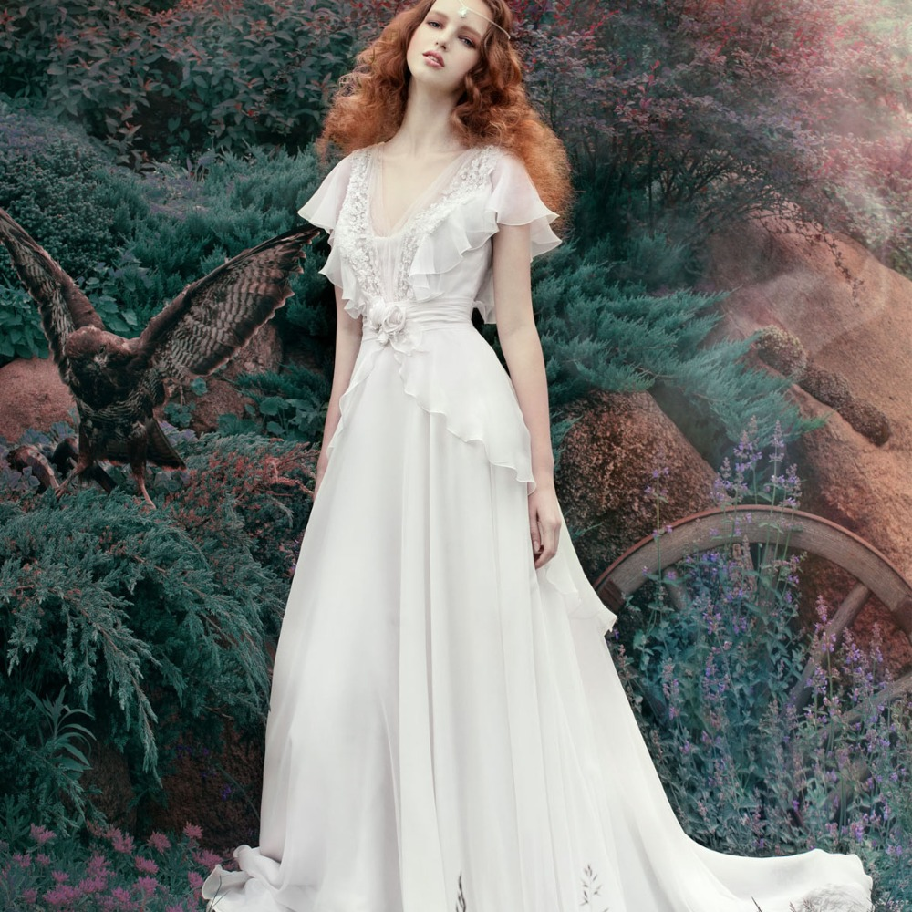 Elegant sexy applique flowers chiffon garden wedding dress for Bridesmaid dresses for a garden wedding