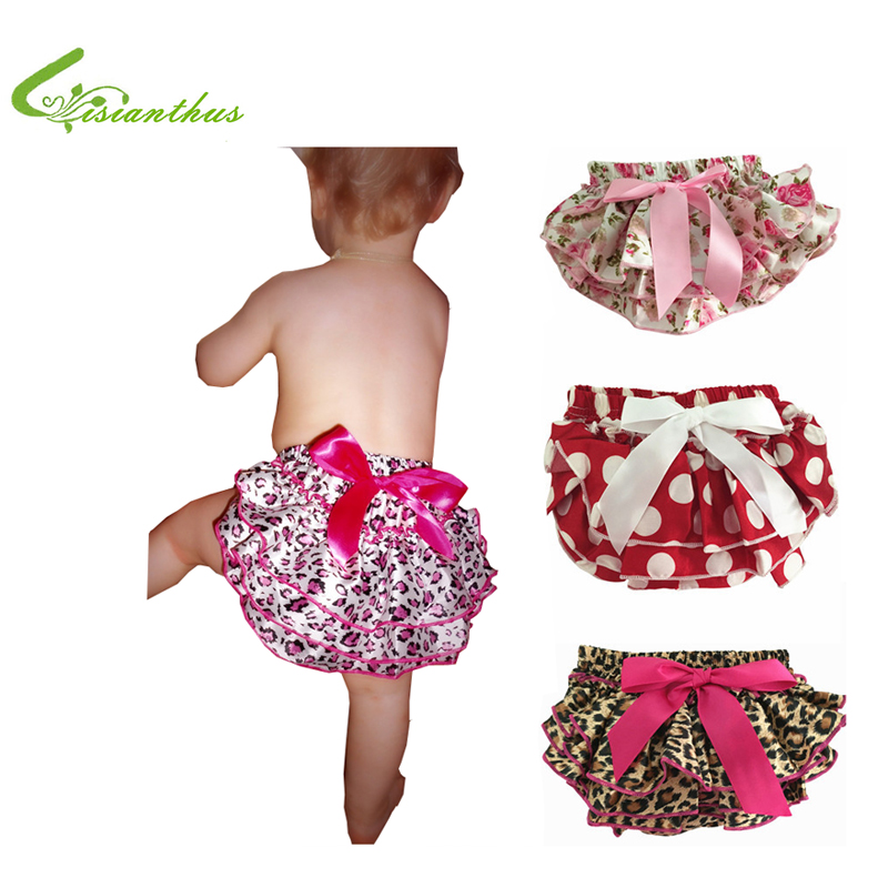 Baby Ruffle Bloomers Layers Baby Diaper Cover Newborn Flower Shorts with Skirts Toddler Cute Summer Satin Pants Free Drop Ship(China (Mainland))