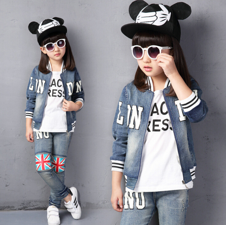 2pcs/suit 4-14 Years Old Cowboy Outwear+pant Wear Kids Boy Girls Jeans Jacket Autumn Union Jack England Style Child Clothes t342(China (Mainland))