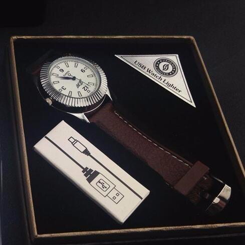 ถูก 1ชิ้น2016นวนิยายUSBเบากับW Indproof Flamelessค่าใช้จ่ายบุหรี่ซิการ์เบาดูควอตซ์ลำลองสำหรับบุรุษนาฬิกาข้อมือ